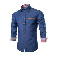 Luxury Mens Casual Stylish Slim Fit Long Sleeve Casual Formal Dress Shirts Tops