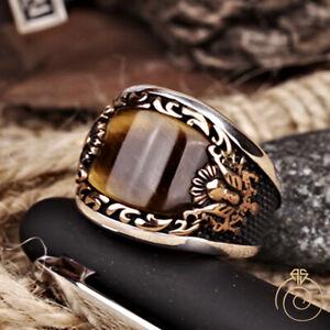 Silver Mens Heraldry Ring Tiger Eye Curved Brown Gemstone Vintage Signet Jewelry