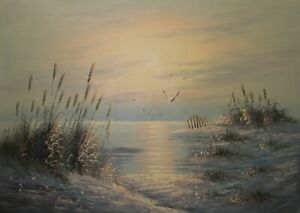 ALFORD CODY 30x20 OIL PAINTING on flat canvas - sunset beach with rushesC