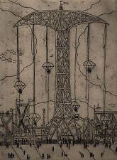 ANDREW GIAMBALUE 1977 CONEY ISLAND PARACHUTE ARCADE BOARDWALK MODERNIST ETCHING
