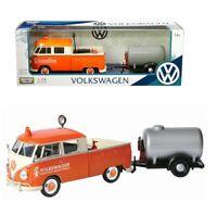 1/24 MOTORMAX Volkswagen Type 2 T1 Service Pickup and Oil Trailer Model 79674