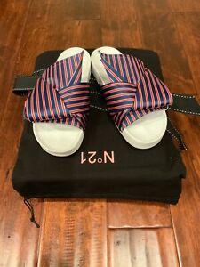 "No. 21 Blue/Red Striped Satin Bow ""Tess"" Sandals, Size 6 (US) 36 (IT) NIB!"