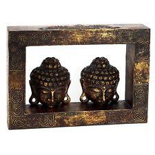 Buddha Kopf Wandbild Holz - Handarbeit aus Bali - 42 cm - Antik Look Asien Budda