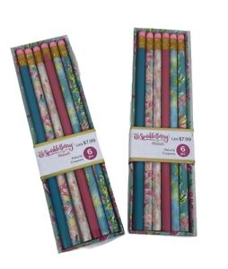 AMERICAN CRAFTS -Writing Pencils 2 pk of 6 Total of 12 Tropical Floral Flamingos