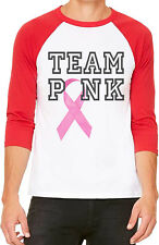 Unisex Team Pink Breast Cancer B1066 White/Red C5 Baseball T Shirt Faith Support