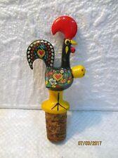 """Bouchon de bouteille décoratif  """" coq """" peint, Portugal"""