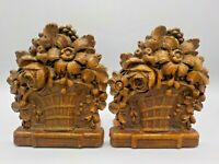 Vtg 40's Ornawood Syrocco Formed Wood Bookends Shabby Chic Floral Bouquet Basket