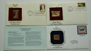 First Day Covers 22kt Gold Set Of 3: WW2, Supreme Court & Air Mail Postage Stamp