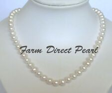 """20"""" Inch LONG Genuine 8-9mm White Pearl Strand Necklace Cultured Freshwater"""