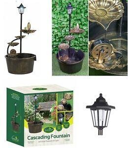 Copper Effect Cascading 4 Lotus Leaves Barrel Water Fountain Solar Light 12260