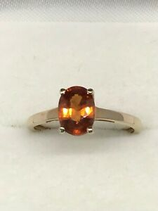 9ct Gold single oval deep colour Citrine solitaire dress  ring,  new, Gems TV
