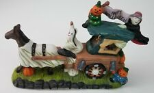Spooky Hollow Horse Drawn Coach Carriage Halloween Porcelain Pumpkin Ghost Skull