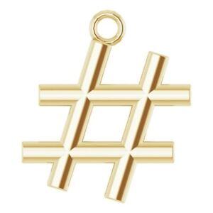 Hash Tag # Dangle Tiny 10K 14K 18K Yellow Rose White Gold and Platinum