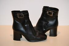 VERA GOMMA Women's Black Leather Chunky Heels Ankle Boots Size 36 Us 6
