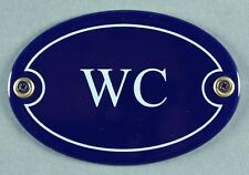 """Emaille Türschild """"WC"""" blau oval 7x10 cm Schild Emailleschild Metallschild"""