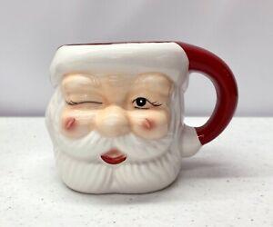 NEW Pottery Barn Santa Claus Shaped Handcrafted Ceramic 7oz. Christmas Mug #3