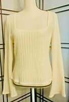 ST JOHN EVENING Marie Gray Beige Sparkly Knit U Neck Pullover Sweater 12