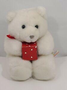 """VTG 1989 HALLMARK """"Heartline"""" Teddy Bear w/Heart Theme Gift Box - EUC"""