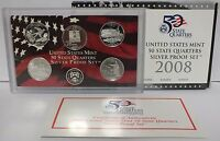 2008 State Quarter Silver Proof Set - 5 Coin Set - United States Mint Authentic