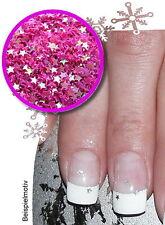 Nail-Art GLITTER STARS MINI Sterne 2mm  Einleger pink/holo Weihnachten Xmas