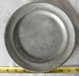 Antique pewter plate 19TH C German salad dessert heavy monogram M F marked Zinn