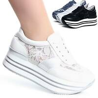 Damen Plateau Sneaker Halbschuhe Turnschuhe Transparent Wedges Trendy