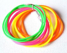 NEW Pack of 12 Bright neon coloured gummy bangles bracelet fashion jewellery