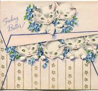 VINTAGE WHITE GRAY KITTENS CATS SMILES GREEN EYES FORGET ME NOTS GREETING CARD