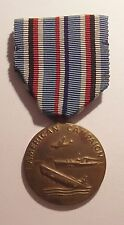 VINTAGE WW II American Campaign Military Medal with Sewn Slotted Brooch NAMED