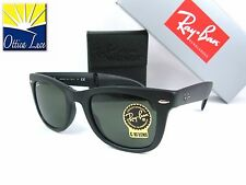 RAY BAN 4105 601s FOLDING WAYFARER calibro 54 Pieghevole Nero Sunglass Sole