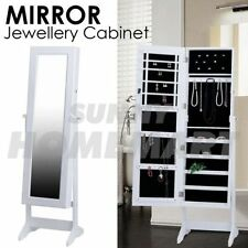 Mirror Jewellery Cabinet Storage Organiser Box Makeup Wooden Full Length WHITE