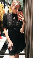 ZARA BLACK LACE SHORT DRESS WITH RHINESTONE BUTTONS SIZE S