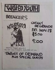 WASTED YOUTH/NEIGHBOORHOOD WATCH/TARGET OF DAMAND Original Show Flyer 1983 HC
