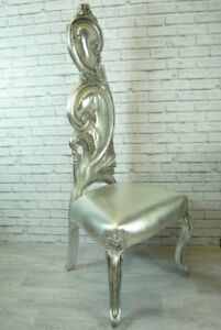 Feature Accent Chair Tall Ornate Silver Leaf Carved design Wooden Chair