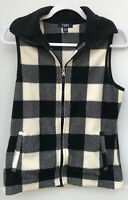 Chaps Sport Size Small Women's Fleece Full Zip Black White Buffalo Check Vest