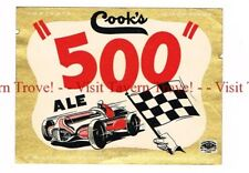 Unused 1950s INDIANA (black) Cook's Indy 500 Ale Race Car 12oz Label