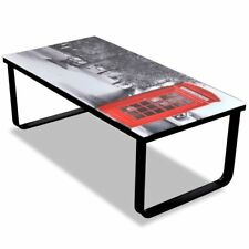Modern Coffee Table Tempered Glass 5mm Telephone Booth Printing Metal Frame