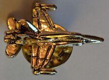 Vintage Fighter Jet Lapel Pin Goldtone Airplane Plane Tie Hat