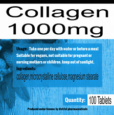 Collagen Tablets 1000mg Type 1&2 Firm Skin Strong Joints + Peptain x 100 Tablets