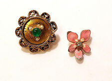 Two Vintage Lapel Pins Pink Flower w Rhinestone Round Gold Tone w Green Bead