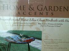 Alpine Dragonflies and Water Lilies Glass Birdbath w/ Stand Jay104A-18
