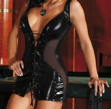 Latex Look Sexy Black Lace up dress see-through panels thong
