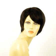 perruque femme 100% cheveux naturel carré méchée noir/cuivré SOLENE 1b30