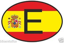 E SPAIN COUNTRY CODE OVAL WITH SPANISH FLAG BUMPER STICKER
