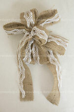 "BURLAP & White LACE BOWS 9""across w/streamers Wedding Decor/Pew Bow/Chair Sash"