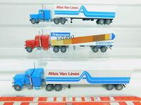 BO757-0,5# 3x Wiking H0/1:87 US-Truck Peterbilt: Atlas Van Lines+Lack Truck NEUW