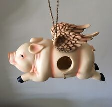 When Pigs Fly Flying Pig Birdhouse 10.5� Pig with Wings Whimsical Bird House New