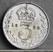 More details for george v 0.500 silver threepence, 1926 2nd coinage. bull 3944 rare. weak ef