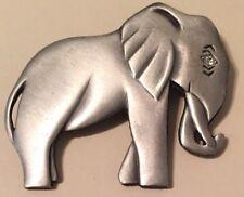 Large Sad Silver Gray Metal Elephant With Rhinestone Crystal Eye
