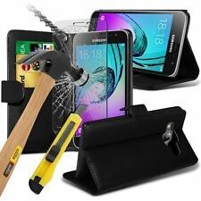 PU Leather Wallet Book+Free Tempered Glass Cover For Samsung Galaxy J3 J5 2017
